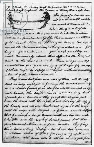 LEWIS & CLARK: CANOE, 1806 Description of Northwest Coast Native American canoes, with an accompanying sketch (upper left), on a page from William Clark's journal of the Lewis and Clark expedition, 1 February 1806.
