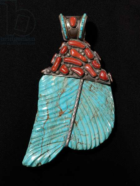 Pendant, Sante Fe, c.1950 (turquoise, silver, coral & resin)