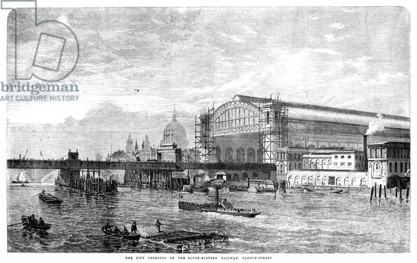 LONDON: CANNON STREET, 1866 The Cannon Street railroad station, the terminus of the South Eastern Railway. Wood engraving, English, 1866.