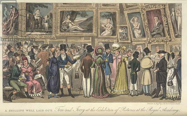 An art exhibition, Tom and Jerry at the Exhibition of Pictures at the Royal Academy, 'Life in London, etc.', by Pierce Egan, 1823 (colour litho)