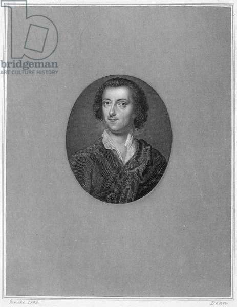 HORACE WALPOLE (1717-1797) 4th Earl of Orford. English man of letters and collector. Line and stipple engraving after a miniature, 1745, by C.F. Zincke.
