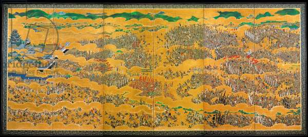 Japan: The siege of Osaka Castle (1615), A 17th century painting by several artists.