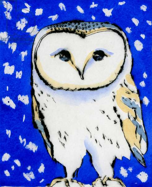 Snowy Owl, 2015 (drypoint and watercolour)