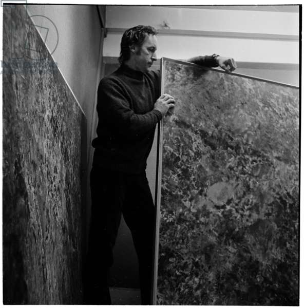 John Hubbard, at the New Art Centre, 1963 (b/w photo)