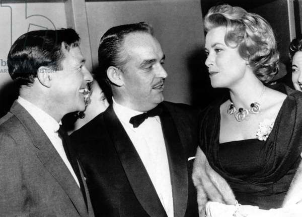 Gene Kelly welcomes guests Prince Rainier and Grace Kelly to his New York production of FLOWER DRUM SONG, December 6, 1958