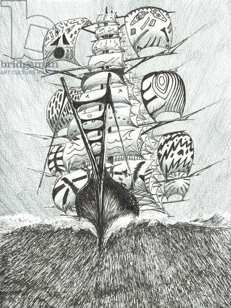 Storm Creators Ross Sea, 2017 (ink and pencil on paper)