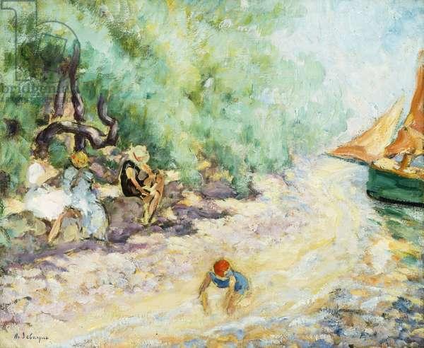 Bathers by the Side of a River; Les Baigneuses au Bord de la Riviere, (oil on canvas)