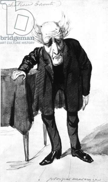 Francois Rene French writer, viscount of Chateaubriand (1768-1848) French writer, cartoon by Prosper Merimee (engraving)