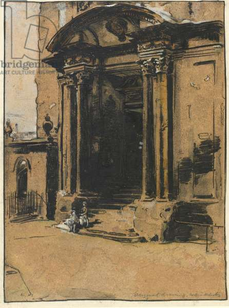 The Doorway of the old Ashmolean Museum, Oxford (pen & ink, black chalk & wash with white heightening on tracing paper)