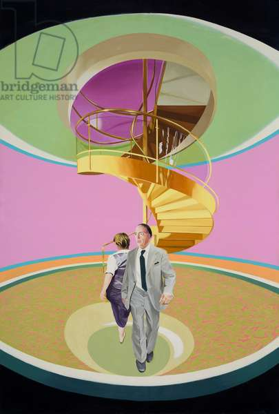 Man and Woman Spiral Staircase, 1983 (oil on canvas)