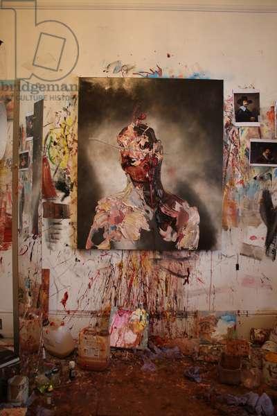 'Self Portrait with Blue Slash' in Studio (photo)