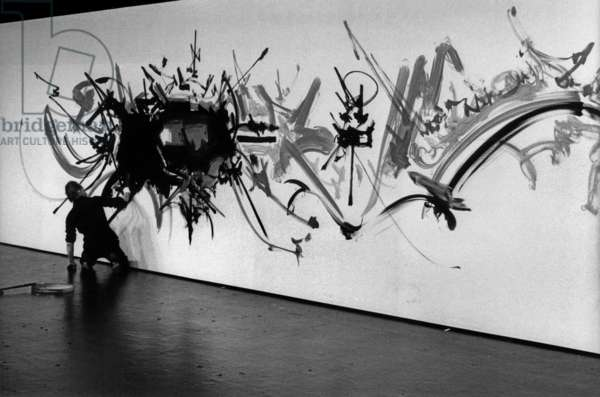 Georges Mathieu Painting in Front of Tvcamera in Paris Novemner 9, 1978 Art Abstrait Abstract (b/w photo)