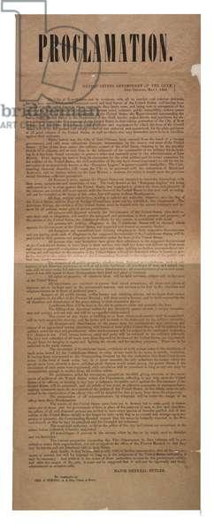 Proclamation, 1 May 1862 (litho)
