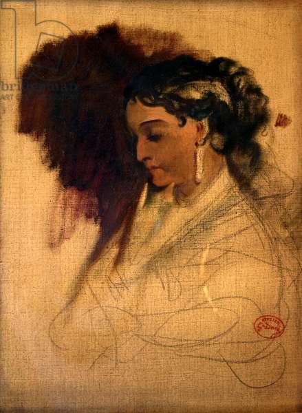 Madame Adelina Patti (oil &  charcoal on canvas)
