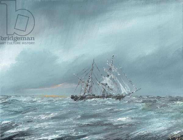 The Mary Celeste adrift December 5th 1872, 2016, (oil on canvas)