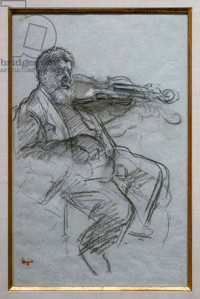 The Violinist. 1879. Charcoal and white chalk highlights on blue-grey paper. Boston, Museum of Fine Arts, William Francis Warden Fund.