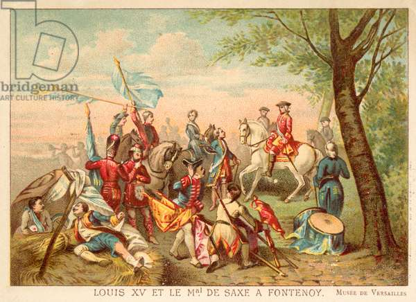 Louis XV of France and Marshal de Saxe at the Battle of Fontenoy, 1745 (chromolitho)