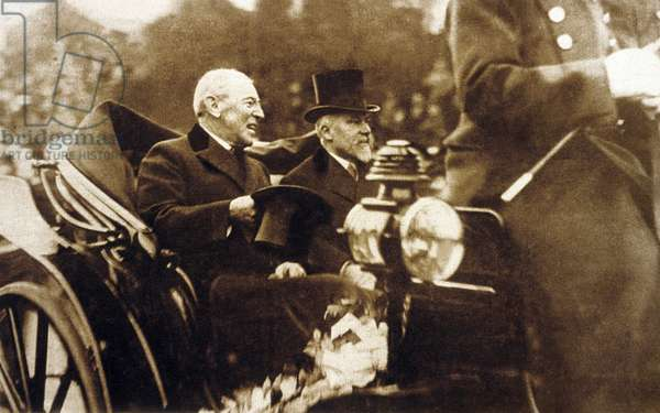 American President Woodrow Wilson (1856-1924) and French President Raymond Poincare (1860-1934) in Paris, 1918