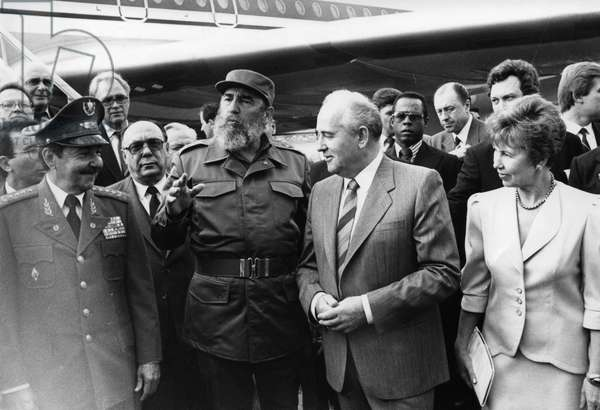 Fidel Castro, Head of the Communist Party of Cuba (Left) Meeting Mikhail Gorbachev, General Secretary of the Cpsu with his Wife, Raisa at the Havana Airport, Havana, Cuba, April 1989.