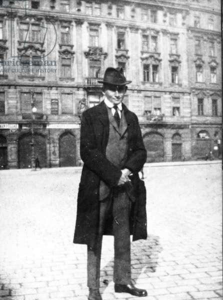 Franz Kafka On Prague'S Old Town Square (Around 1920).