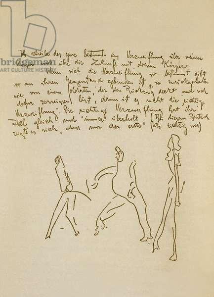 Manuscript by Franz Kafka (1883-1924) illustrated by himself