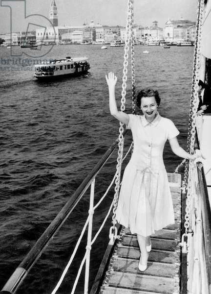 Olivia de Havilland during celebrity cruise starting from Venice August 10, 1955