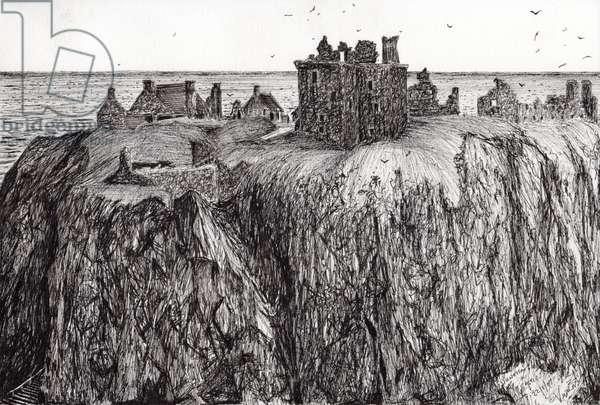 Dunottar Castle, 2007, (ink on paper)