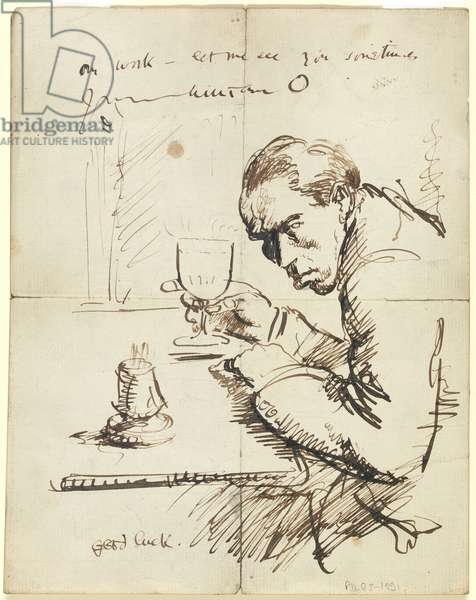 Self-portrait (pen & brown ink on paper)