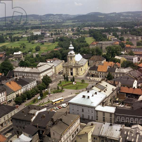 Wadowice, town in Souther Poland, 50km from Cracow, the birthplace of pope John Paul II. the market square and the Virgin Mary's Offertory minor basilica Lesser Poland Province, 1985-1986