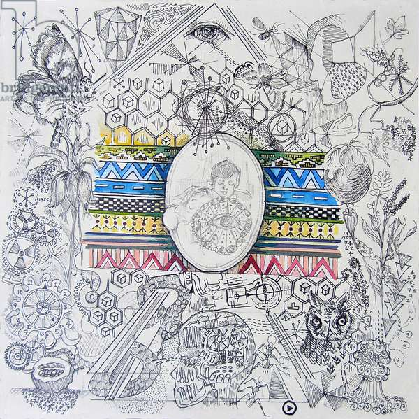Chaos Theory, 2012, (oil, pen, pencil on paper)