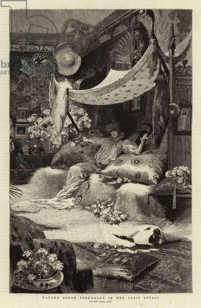 Madame Sarah Bernhardt in her Paris Studio (engraving)