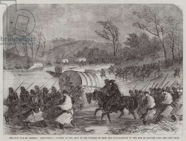 The Civil War in America, Unsuccessful Attempt of the Army of the Potomac to cross the Rappahannock on the 20 January Last (engraving)