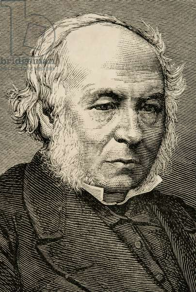 Rowland Hill (1795-1879). Engraving.