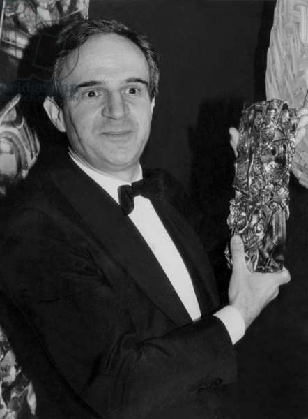 Director Francois Truffaut Receiving his Cesar For his Film Le Dernier Metro in 1981 (b/w photo)