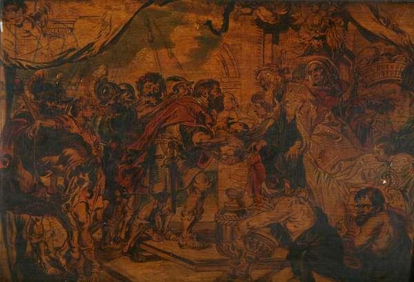 Abraham and Melchisedek, 19th century (oil on wood panel)