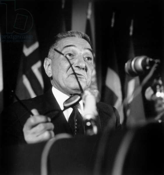 Jean Louis Tixier-Vignancour, Candidate at French Presidential Elections, here during A Press Ocnfernece on September 10, 1965 (b/w photo)