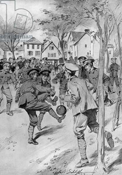 A football match played by troops during the battle of the A