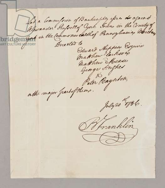 Commission of bankruptcy, 20th July 1786 (pen & ink on paper) (see also 2561291-93)