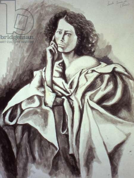 Portrait of Sarah Bernhardt (w/c on paper)