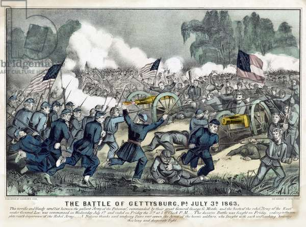 The Battle of Gettysburg, PA, July 3rd, 1863 (litho)