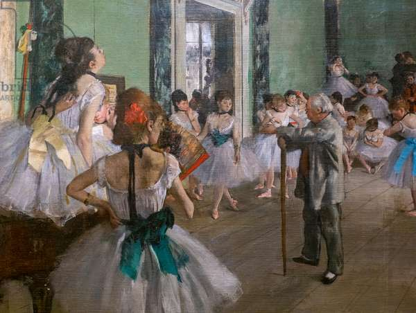 The dance class (detail). Begins in 1873, ends in 1875-1876. Oil on canvas.