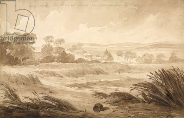 'No 1 Hougomont The House and farme du - Gourman from the Right', 1815 (w/c & pencil on paper)