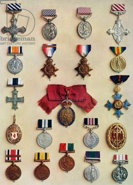 Orders, medals and badges created by King George V, 1935 (colour litho)