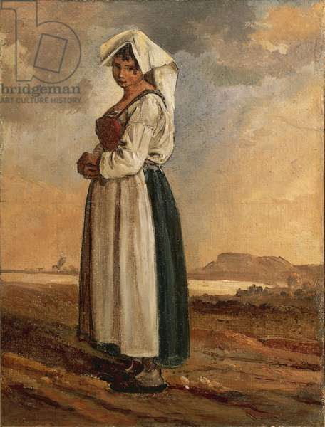 Peasant Woman with Southern Lazio Region Costume by Anton Sminck van Pitloo