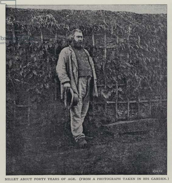 Jean Francois Millet, French painter, aged about 40 (b/w photo)