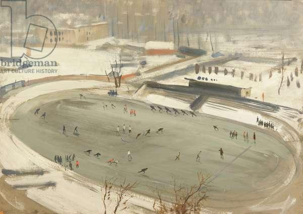 Skating Stadium, Dynamo, 1956 (tempera & gouache on paper)