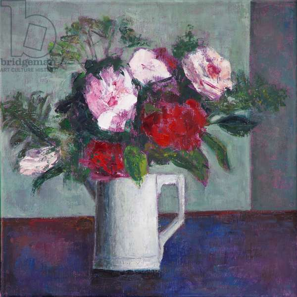 Red and White Roses, (oil on canvas)