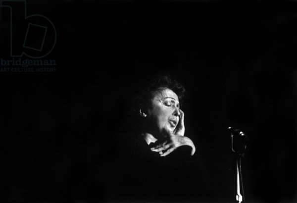French Singer Edith Piaf at The Olympia in Paris on February 7, 1958 (b/w photo)