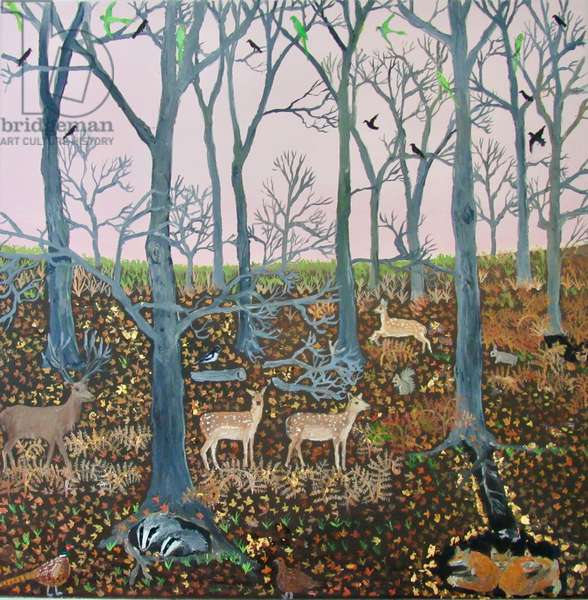 Deer and bracken, 2017, (oil on canvas)