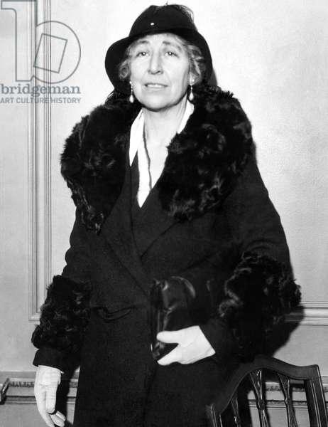 First female member of the U.S. House of Representatives, Jeannette Rankin, (1880-1973), c. 1932.